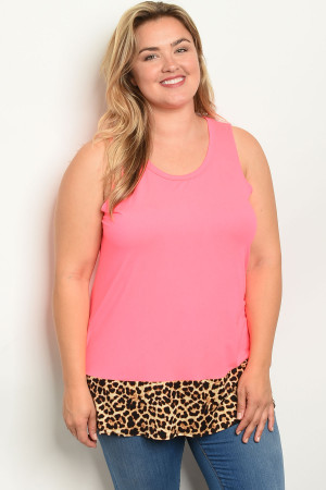 C61-A-3-T2207X NEON PINK CREAM ANIMAL LEOPARD PRINT PLUS SIZE TOP 2-2-2