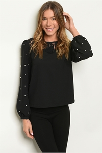 S16-10-2-T5552 BLACK WITH PEARLS TOP / 2PCS