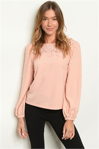 S16-10-2-T5552 BLUSH WITH PEARLS TOP / 3PCS
