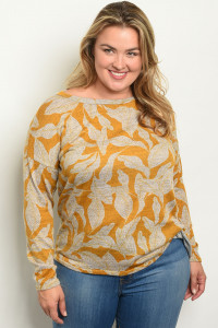 C60-B-4-T1868X MUSTARD GRAY WITH LEAVES PLUS SIZE TOP 2-2-2