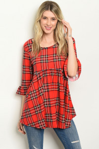 C88-A-7-D21007 RED CHECKERED TOP 2-2-2
