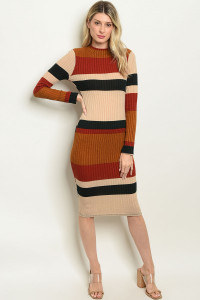 C48-A-5-D9404 MULTI STRIPES DRESS 2-2-2