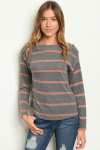 C88-B-1-T4264 GRAY MAUVE STRIPES TOP 2-1-1