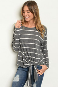 C83-A-3-T4689 GRAY WHITE STRIPES TOP 2-2-2