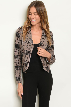 S6-1-2-J3572 MOCHA BLACK CHECKERED JACKET 2-2-2