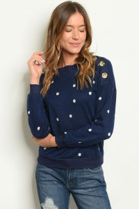 SA3-0-5-T4350 NAVY WHITE WITH DOTS TOP 2-2-2
