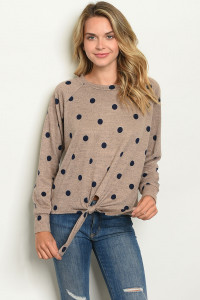 S12-1-2-T4096 MOCHA NAVY WITH DOTS TOP 2-2-2