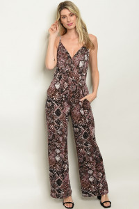 C28-A-3-J2141 BLACK PLUM SNAKE ANIMAL PRINT JUMPSUIT 2-2-2