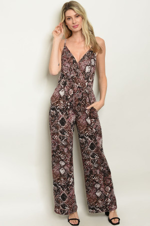 C31-A-1-J2141 BLACK PLUM SNAKE ANIMAL PRINT JUMPSUIT 2-2