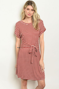 C32-A-7-D143191 BRICK STRIPES DRESS 2-2-2