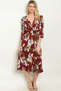 C50-A-7-D128974 BURGUNDY WITH FLOWER DRESS 2-2-2