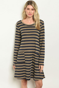 C56-A-3-D142852 TAUPE NAVY STRIPES DRESS 2-2-2