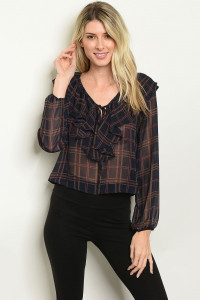 S16-10-4-T1196 NAVY CHECKERED TOP 2-2-2