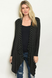C67-A-1-C69989 BLACK GRAY STRIPES CARDIGAN 2-3