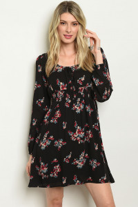 S19-2-3-D2001 BLACK WITH FLOWER PRINT DRESS 2-2-2