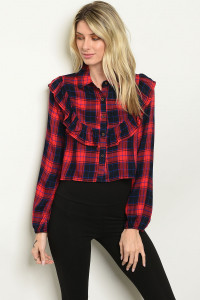 S23-4-4-T1005 RED CHECKERD TOP 2-2-2