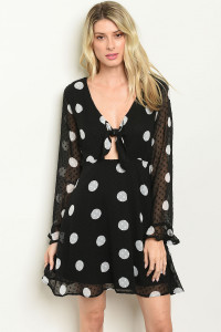 S14-2-2-D13091 BLACK WHITE WITH DOTS DRESS 2-2-2
