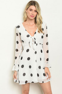 S14-3-2-D13091 WHITE BLACK WITH DOTS DRESS 2-2-2