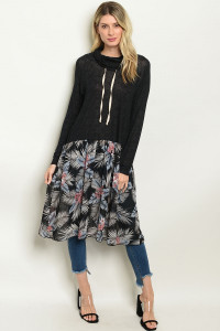 C85-A-3-D7381 BLACK WITH FLOWER PRINT TOP 2-2-2