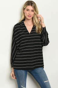 S15-8-2-T1493 BLACK WHITE STRIPES TOP 3-2-1