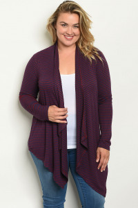 S16-10-3-C9479X BURGUNDY NAVY STRIPES PLUS SIZE CARDIGAN 3-2-2