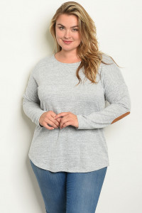 S6-9-2-T3973X GRAY PLUS SIZE TOP 2-2-2