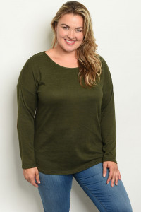 S6-10-2-T3973X OLIVE PLUS SIZE TOP 2-2-2