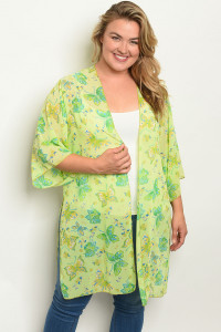 C4-A-7-C1005X LIME WITH BUTTERFLY PRINT PLUS SIZE KIMONO 2-2-2