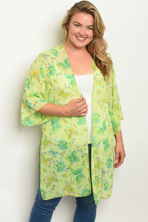 C11-A-1-C1005X LIME WITH BUTTERFLY PRINT PLUS SIZE KIMONO 1-2-2