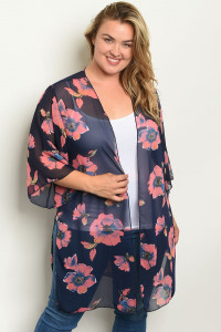 C11-A-1-C1005X NAVY PEACH WITH FLOWER PLUS SIZE KIMONO 1-3-3