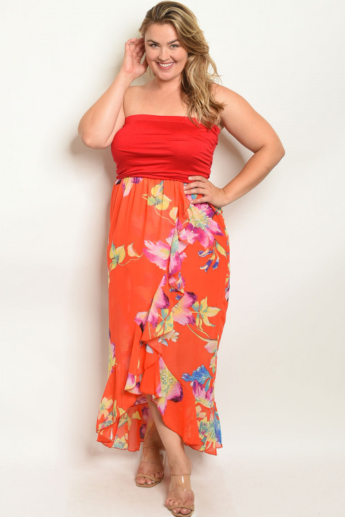 C15-A-1-D0980X RED ORANGE FLORAL PLUS SIZE DRESS 1-2