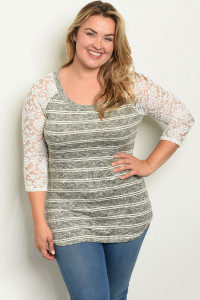 C36-A-1-T11381X OLIVE IVORY STRIPES PLUS SIZE TOP 1-2-2