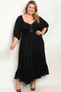 S3-9-2-D7513X BLACK PLUS SIZE DRESS 2-2-2