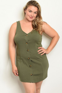 S10-18-3-D7440X OLIVE PLUS SIZE DRESS 1-2