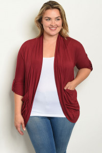 C28-A-1-C11461X BURGUNDY PLUS SIZE CARDIGAN 2-2