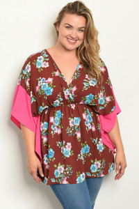 C29-A-4-T12838 BRICK FUCHSIA FLORAL PLUS SIZE TOP 2-2-2