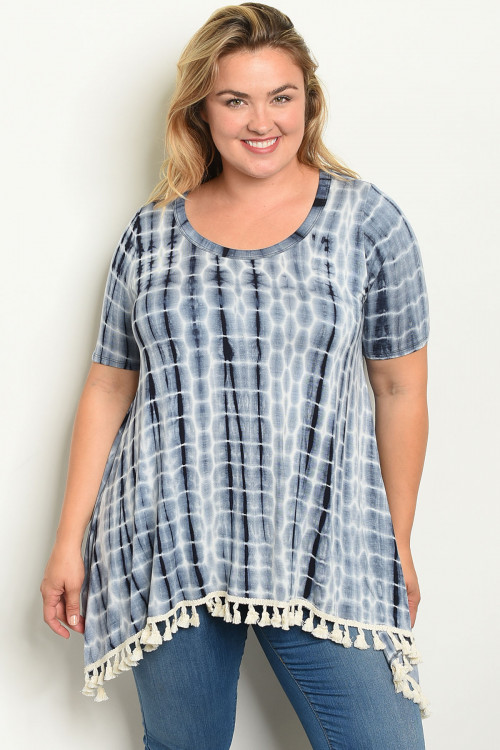 C18-A-1-T11275X NAVY TIE DYE PLUS SIZE TOP 2-4