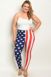 S16-12-5-P206X USA FLAG PRINT PLUS SIZE LEGGINGS / 10PCS