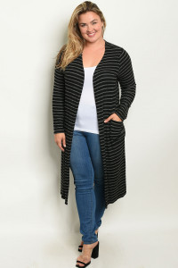 C77-A-1-C7829X BLACK GRAY STRIPES PLUS SIZE CARDIGAN 2-2