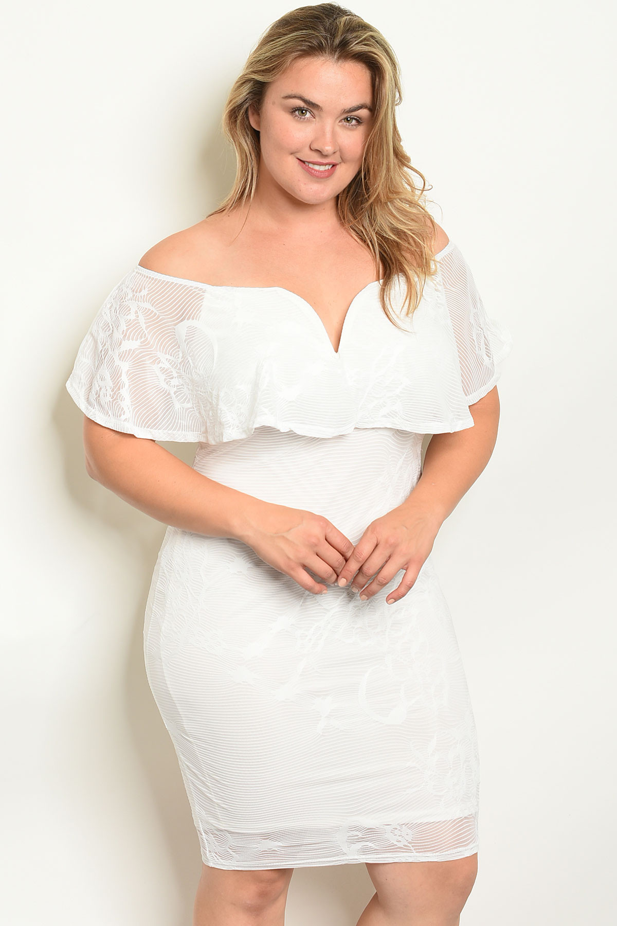 S22-13-1-D12789JX OFF WHITE PLUS SIZE DRESS 2-2-2