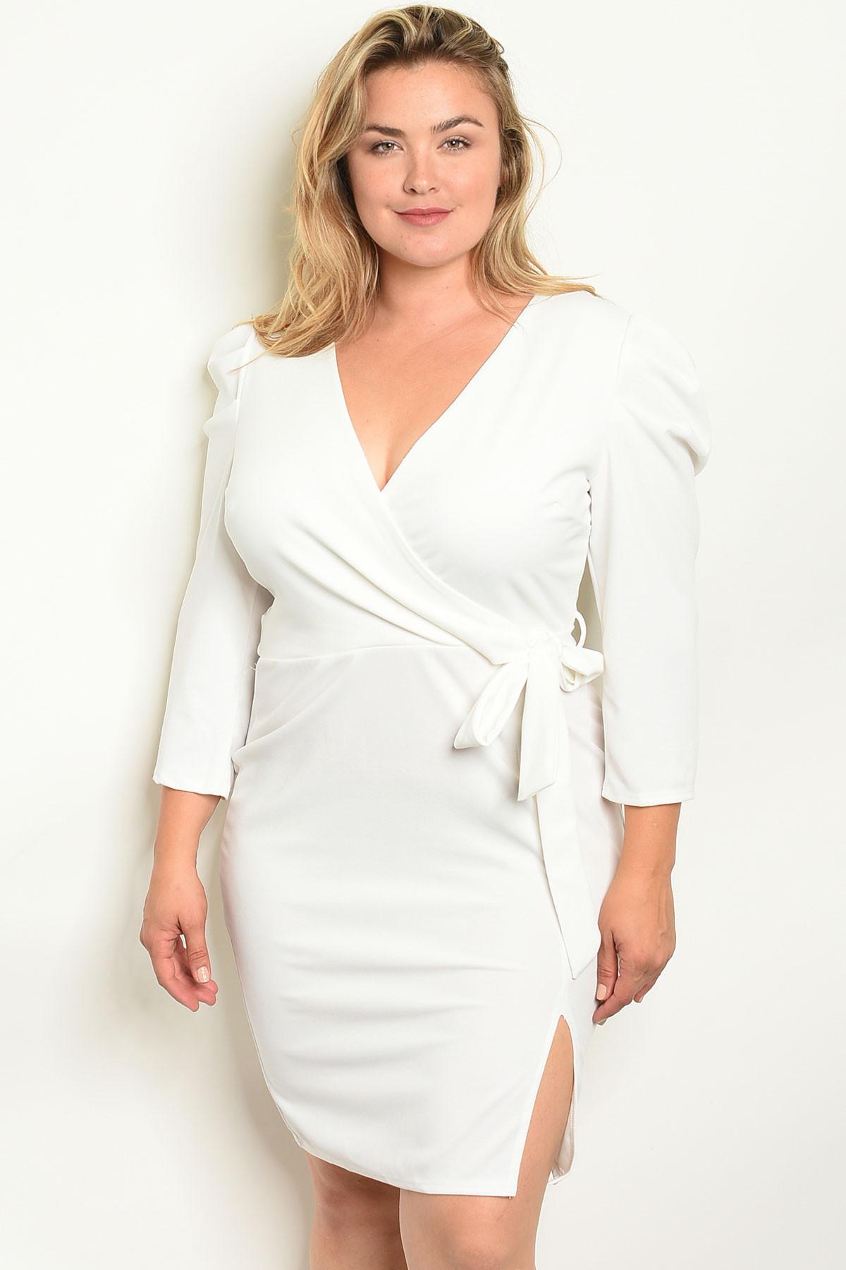 S13-4-3-D203X OFF WHITE PLUS SIZE DRESS 2-2-2