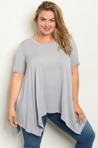 S15-11-4-T12989X GRAY PLUS SIZE TOP 3-2-1