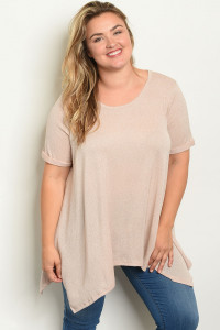S15-11-5-T12989X TAUPE PLUS SIZE TOP 3-2-1