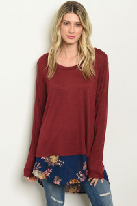 S14-3-4-T1390 BURGUNDY NAVY WITH FLOWER TOP 2-2-2
