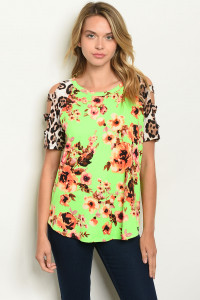 C11-B-5-T22081 NEON GREEN FLORAL LEOPARD PRINT TOP 2-2-2