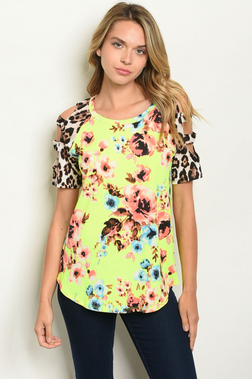 C14-B-1-T22081 NEON YELLOW FLORAL LEOPARD PRINT TOP 1-2-2