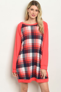 S10-7-4-D1333 CORAL CHECKERED DRESS 2-2-2
