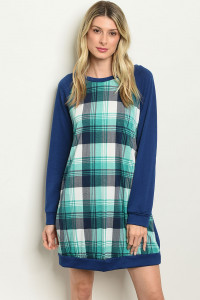 S10-7-4-D1333 NAVY CHECKERED DRESS 2-2-2