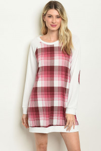 S10-8-4-D1333 IVORY MAUVE CHECKERED DRESS 2-2-2
