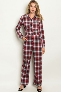 S6-1-1-J2580 RED PLAID JUMPSUIT 3-2-1